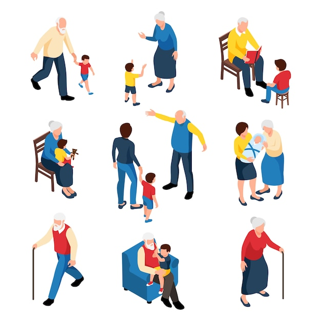 Conjunto isométrico familiar con abuela y abuelo cuidando a sus nietos aislados vector gratuito