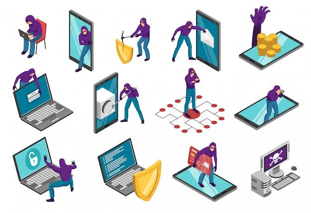 Conjunto isométrico de hackers ccomposiciones con teléfonos inteligentes, computadoras portátiles y el carácter humano de ciber ladrón vector gratuito