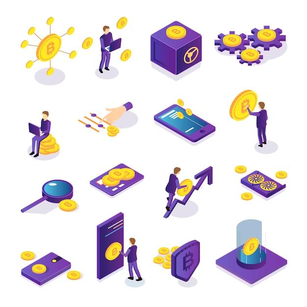 Conjunto isométrico de iconos coloridos de criptomonedas con tarjeta de bitcoins segura para personas y dispositivos electrónicos aislados vector gratuito