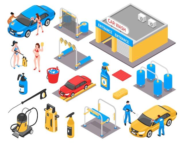 Conjunto isométrico de lavado de autos vector gratuito
