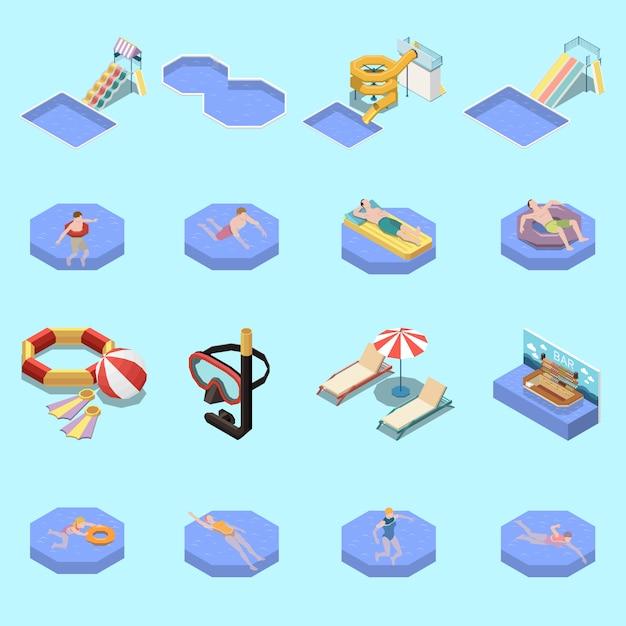 Conjunto isométrico de parque acuático con dieciséis imágenes aisladas de toboganes acuáticos y tumbonas para nadar vector gratuito