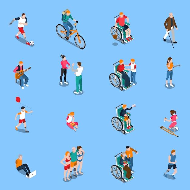 Conjunto isométrico de personas con discapacidad vector gratuito