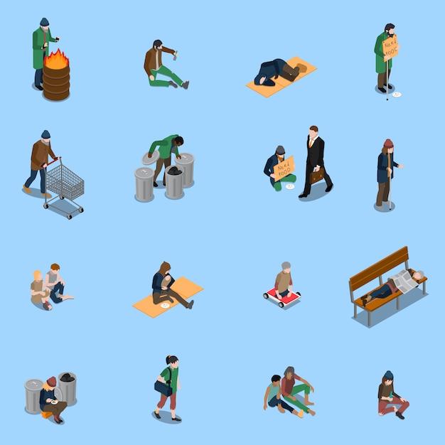 Conjunto isométrico de personas sin hogar vector gratuito