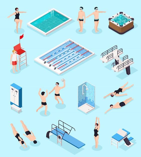 Conjunto isométrico de piscina con equipo, ilustración vectorial aislado vector gratuito
