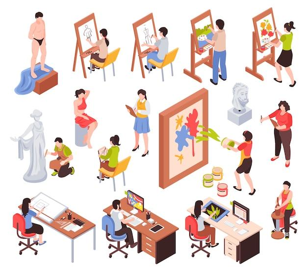 Conjunto isométrico de profesión creativa con artistas maestros de escultura y cerámica, diseñadores gráficos aislados ilustración vectorial vector gratuito