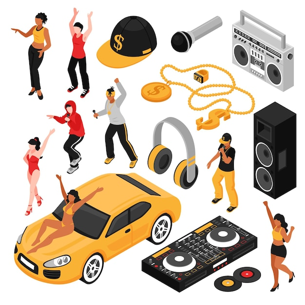 Conjunto isométrico de símbolos de la cultura de la música rap con cantantes intérpretes accesorios retro, así como reproductor de cassette aislado vector gratuito