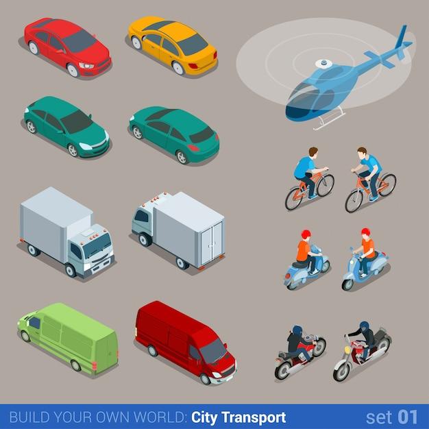 Conjunto isométrico de transporte isométrico plano de la ciudad vector gratuito