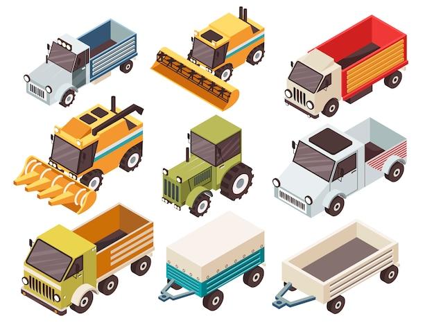 Conjunto isométrico de vehículos de granja vector gratuito