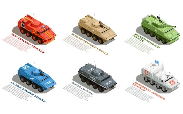 Conjunto isométrico de vehículos militares del ejército vector gratuito