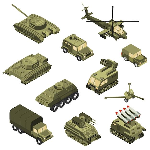 Conjunto isométrico de vehículos militares vector gratuito