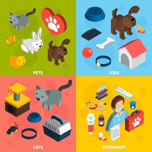 Conjunto isométrico veterinario de mascotas vector gratuito
