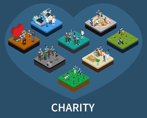 Conjunto isométrico voluntario y de caridad vector gratuito