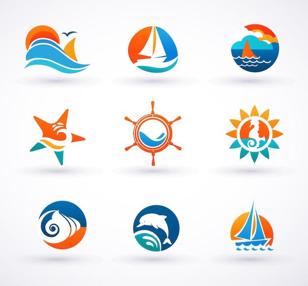 Conjunto de isotipo de logotipo náutico y mar. Vector Premium