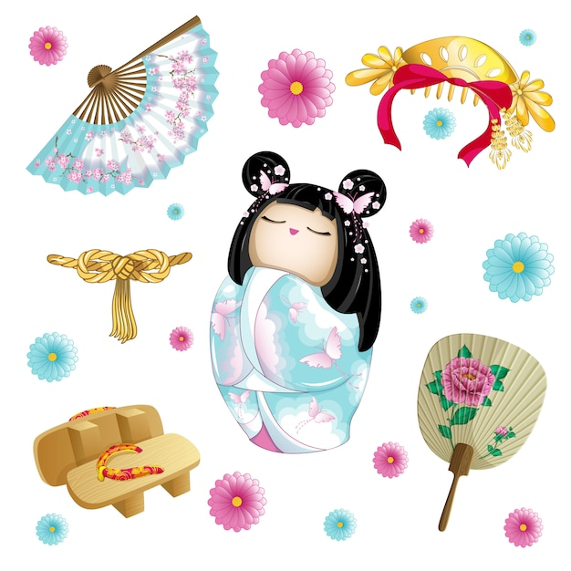 Conjunto japonés con muñeca kokeshi. Vector Premium