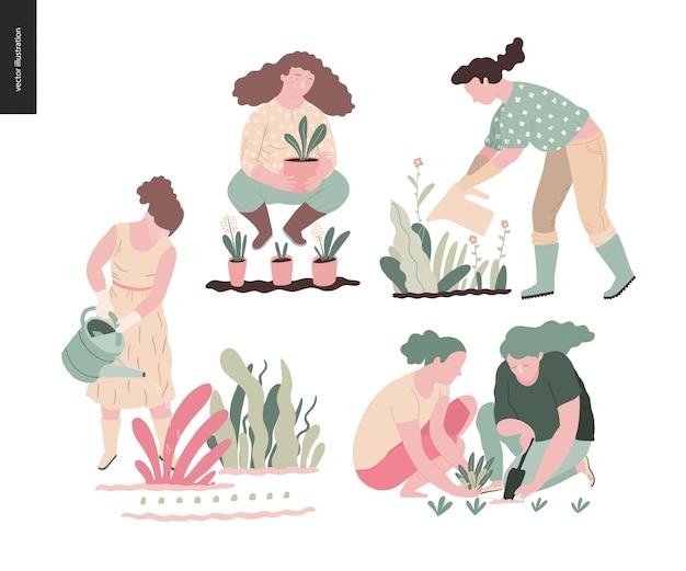 Conjunto de jardinería de verano de personas Vector Premium