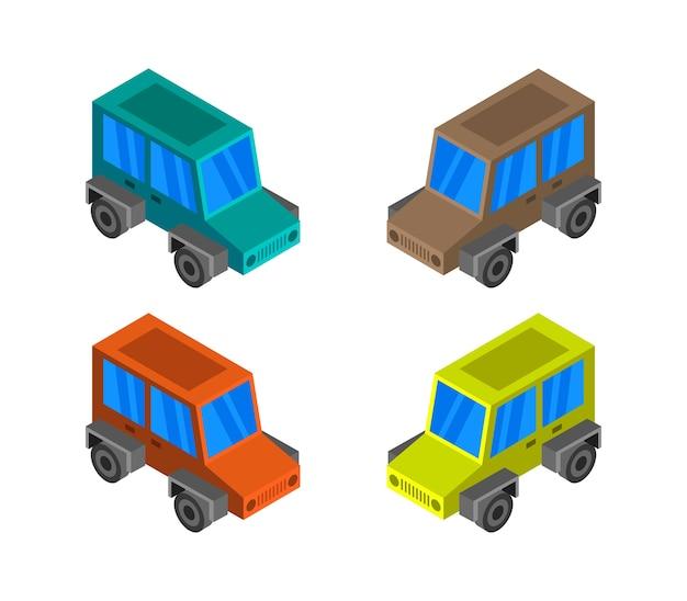 Conjunto de jeep isométrico vector gratuito