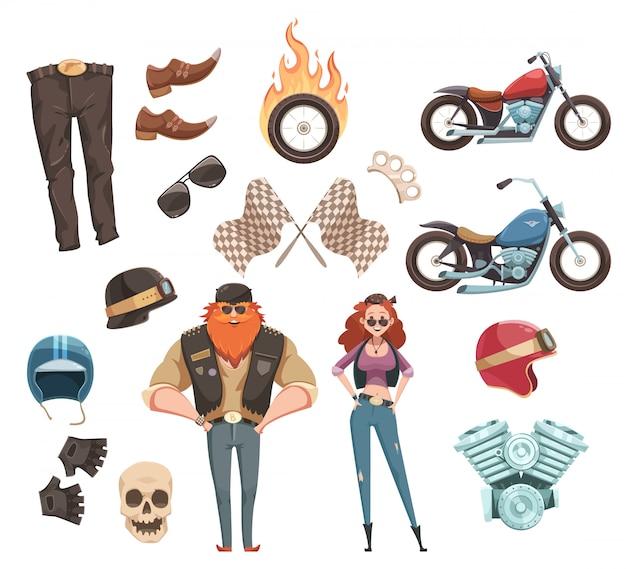 Conjunto de jinete de dibujos animados retro vector gratuito