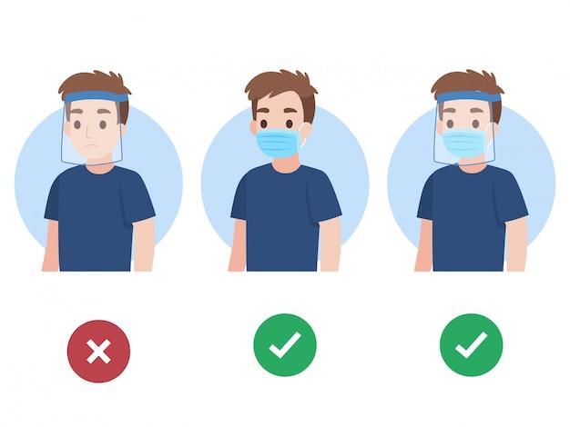 Conjunto de joven vistiendo una mascarilla médica protectora quirúrgica y careta Vector Premium