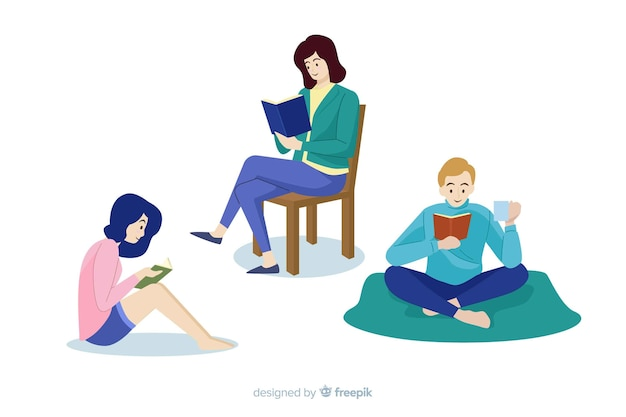 Conjunto de jóvenes amantes de los libros personas leyendo vector gratuito