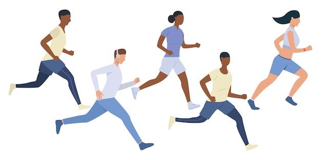 Conjunto de jóvenes corredores multiétnicos. vector gratuito