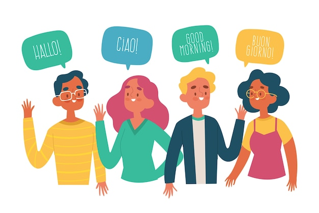 Conjunto de jóvenes dibujados a mano hablando en diferentes idiomas vector gratuito