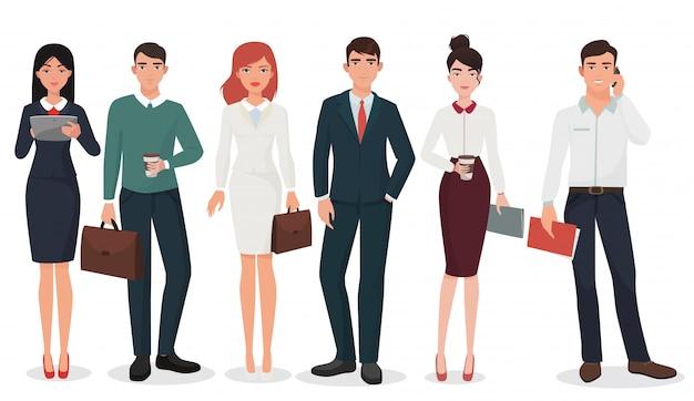Conjunto de jóvenes empresarios de oficina Vector Premium