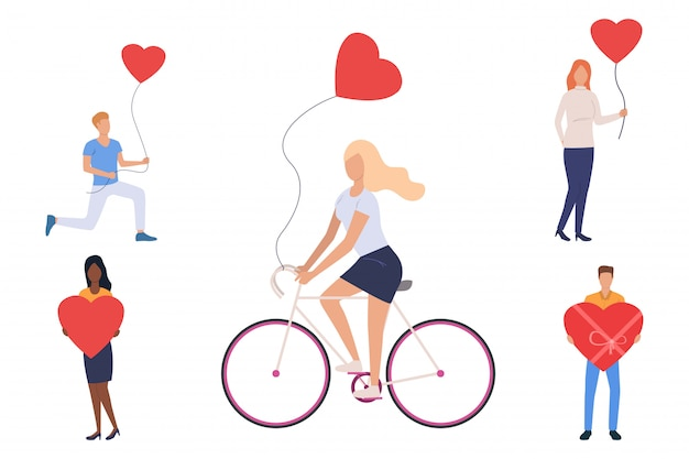 Conjunto de jóvenes con globos de corazón. vector gratuito