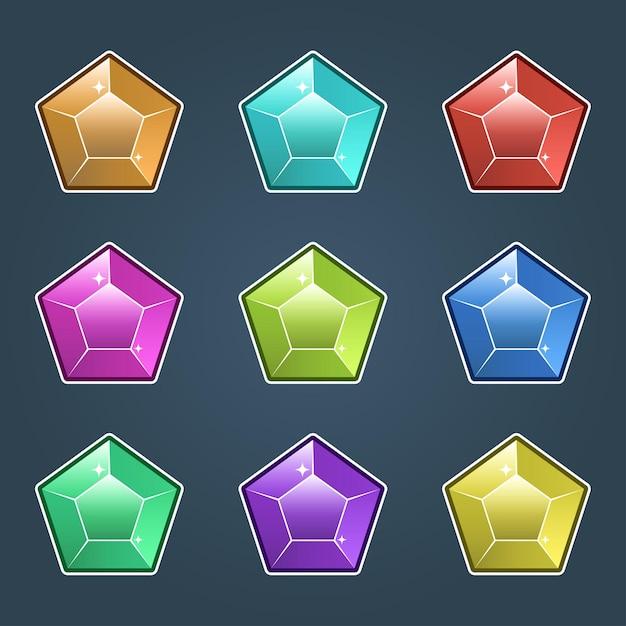 Conjunto de joyas de colores, iconos de gemas y diamantes aislados, diseño plano de diferentes colores. vector gratuito