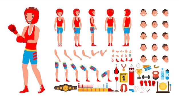 Conjunto de jugador de boxeo Vector Premium