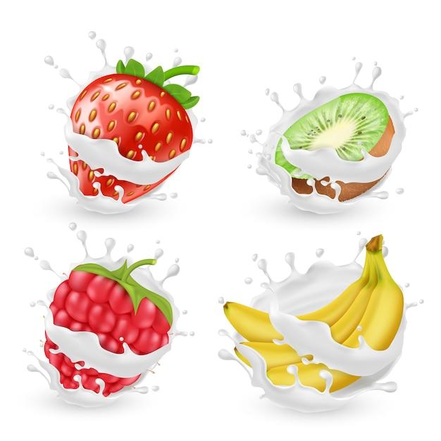 Conjunto de jugosas frutas de verano y bayas en salpicaduras de leche o crema, aislado en el fondo. nat vector gratuito