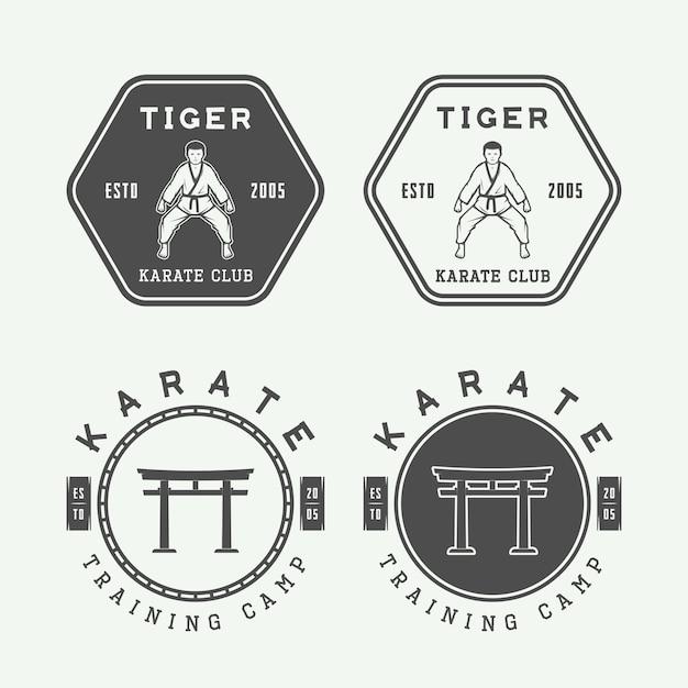 Conjunto de karate vintage o logotipo de artes marciales, emblema, insignia, etiqueta y elementos de diseño. ilustración vectorial Vector Premium