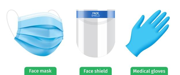 Conjunto de kit de equipo personal de protección antivirus. pantalla facial, mascarilla médica azul y guantes. Vector Premium