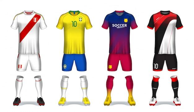 Conjunto de kit de fútbol, diseño de camiseta deportiva. Vector Premium