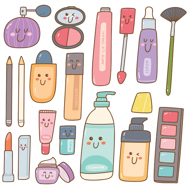 Conjunto de kit de maquillaje garabatos kawaii Vector Premium