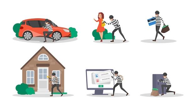Conjunto de ladrón o ladrón. cobro de criminalización por delito. hombre con máscara robando dinero, phishing y atacando datos digitales. ilustración de vector aislado en estilo de dibujos animados Vector Premium