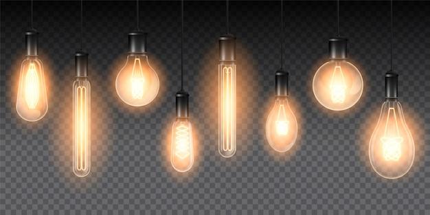 Conjunto de lámparas luminosas realistas, lámparas colgando de un cable. lámpara incandescente aislada sobre un fondo oscuro a cuadros Vector Premium