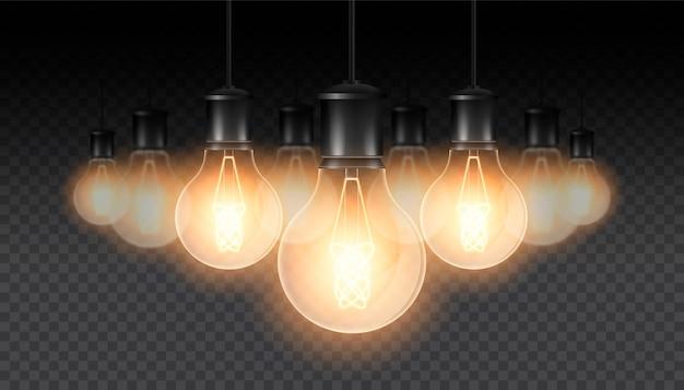 Conjunto de lámparas luminosas realistas, lámparas colgando de un cable. lámpara incandescente. aislado en una oscuridad a cuadros. Vector Premium