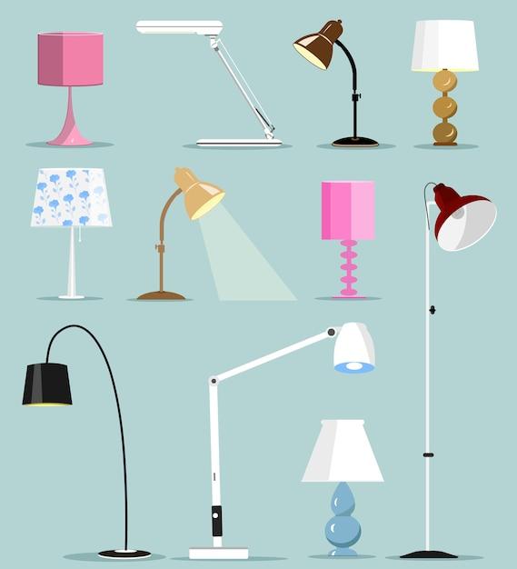 Conjunto de lámparas modernas coloridas. ilustración. Vector Premium
