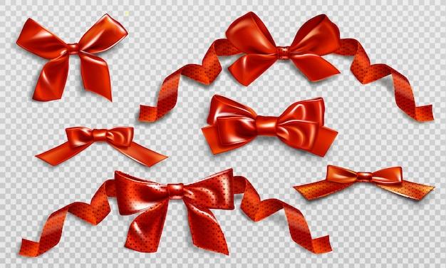 Conjunto de lazos rojos con cintas rizadas y patrón de corazón. vector gratuito