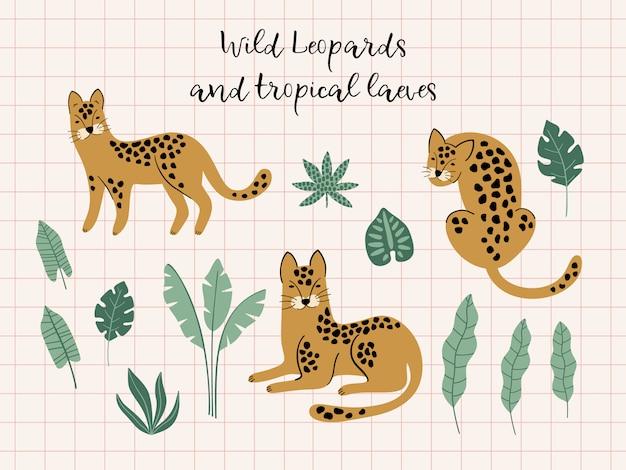 Conjunto de leopardos y hojas tropicales. Vector Premium
