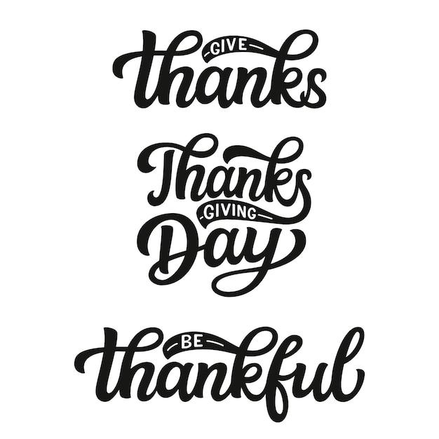 Conjunto de letras del día de acción de gracias Vector Premium
