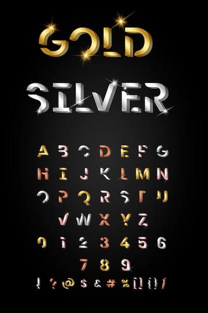 Conjunto de letras metalicas de moda. vector gratuito