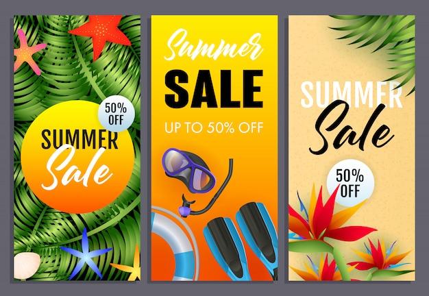 Conjunto de letras de venta de verano, plantas tropicales, máscara de buceo, snorkel vector gratuito
