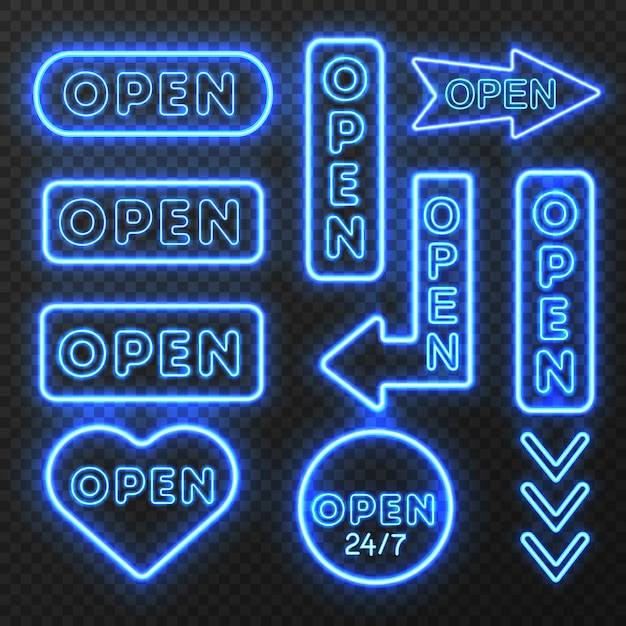 Conjunto de letrero abierto de neón vector gratuito