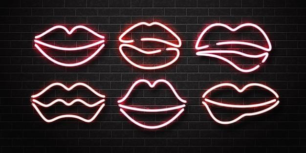 Conjunto de letrero de neón aislado realista del logotipo de labios en una pared. Vector Premium
