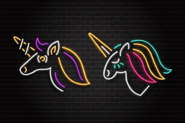 Conjunto de letrero retro de neón realista de unicornio para decoración y revestimiento en el fondo de la pared. Vector Premium