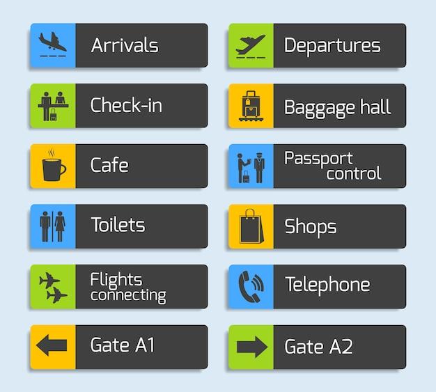 Conjunto de letreros de diseño de navegación del aeropuerto vector gratuito