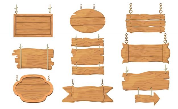 Conjunto de letreros de madera vector gratuito