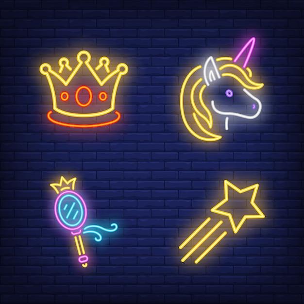 Conjunto de letreros de neón de corona, unicornio, espejo y estrella voladora. vector gratuito