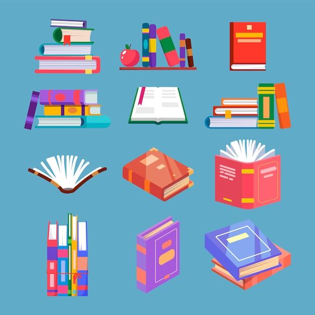 Conjunto de libro de lectura aislado Vector Premium